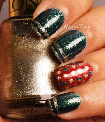 NailaDay: Orly Meet Me Under the Mistletoe with dot and stripes