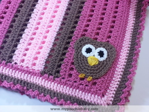 Free Crochet Pattern For Owl Baby Blanket : Raising Mimi @PoochieBaby: Crochet Owl Receiving Blanket