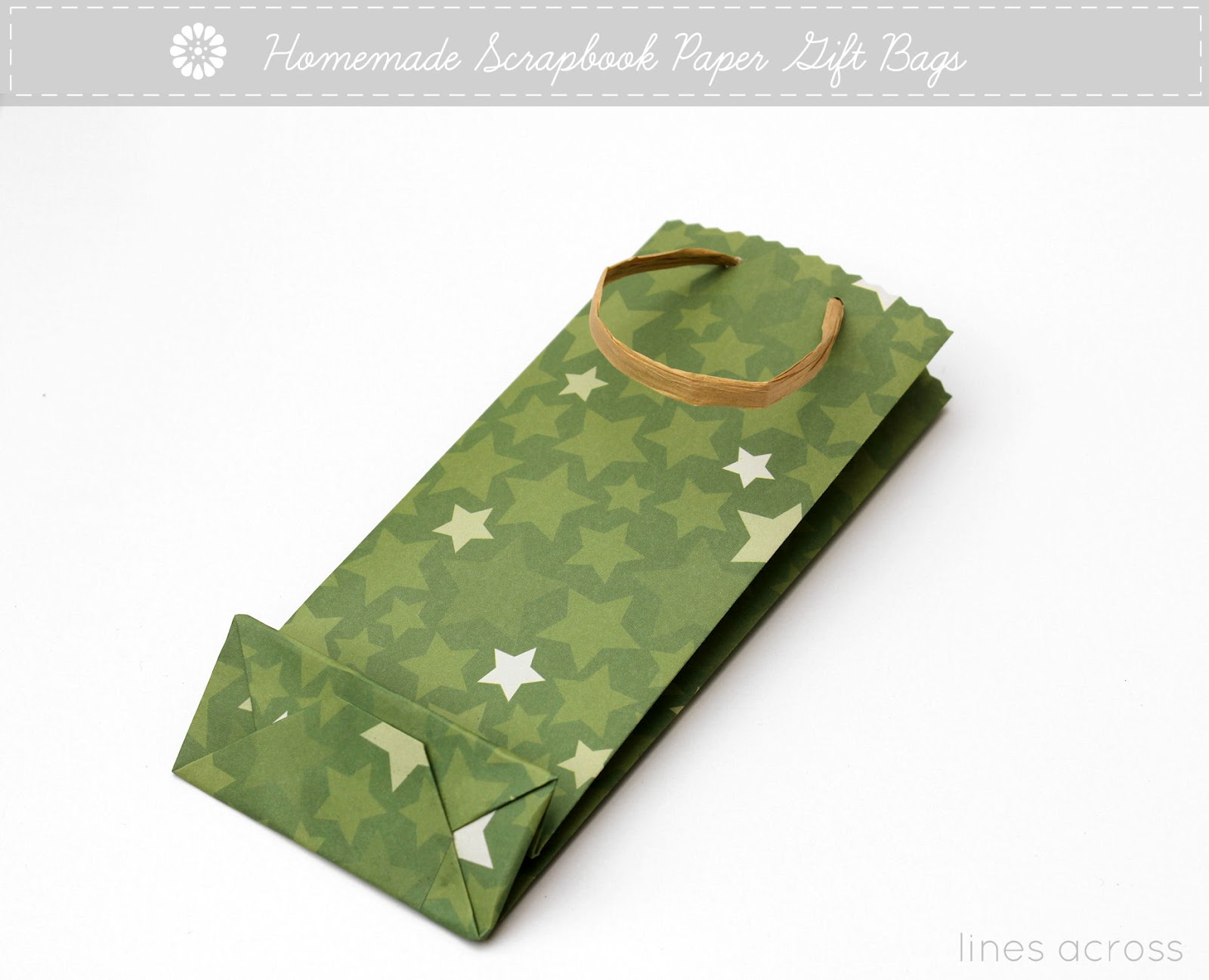 Homemade Scrapbook Paper Gift Bags Lines Across