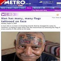 Indiano tatua 6 bandeiras no rosto, mas quer chegar a 220 em todo corpo