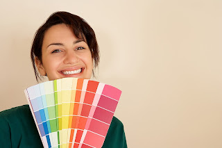 Woman with paint samples