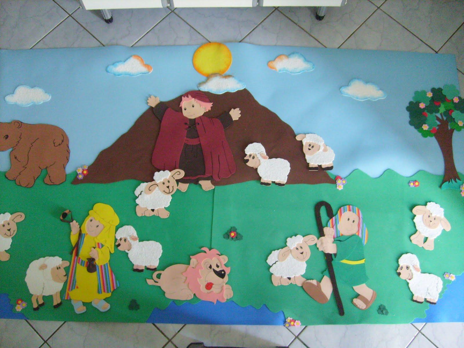 decoracao de sala infantil escola dominical : decoracao de sala infantil escola dominical:Fonte: http://pequenarteag.blogspot. com.br/2011/04/painel-rei- davi