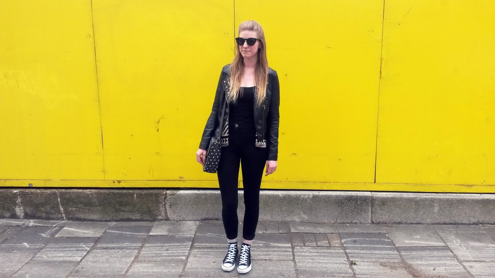 I Was Wondering Around London The Other Day With Boyfriend And Spotted This Bright Yellow Wall Just Had To Take Advantage Of It For An Outfit