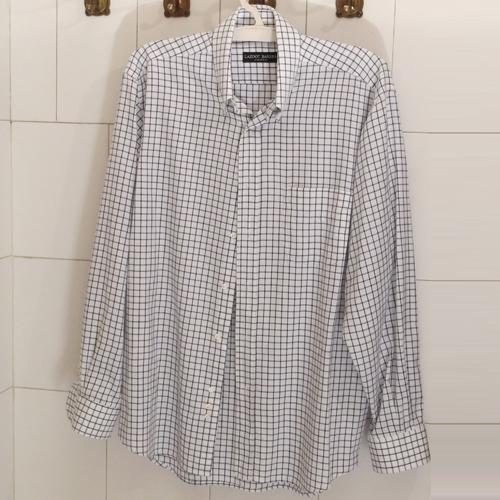 Fehér sötétkék mintázatú pamut férfi ing - sokoldalúan viselhető
