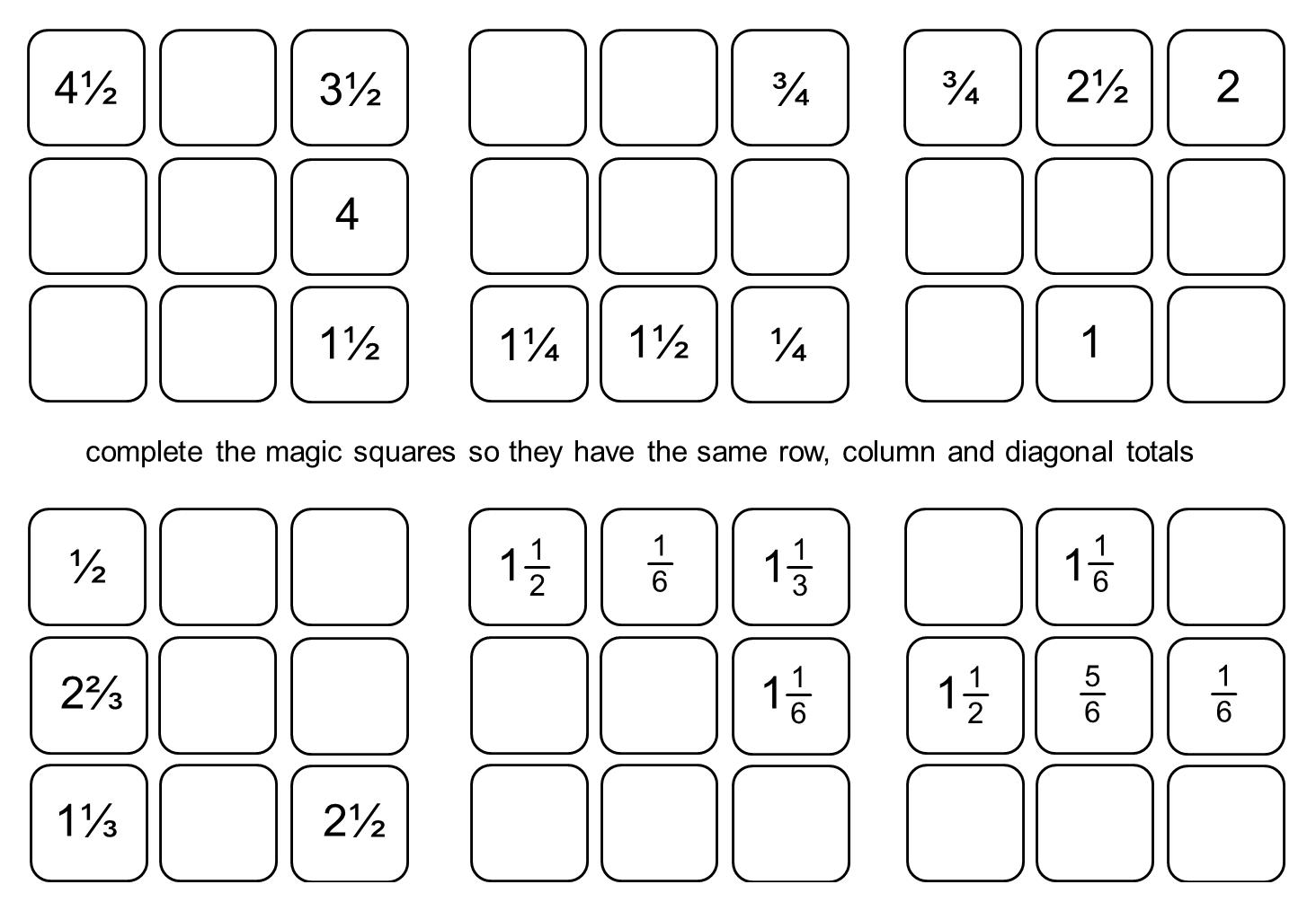 median Don Steward Magic Squares fraction practice – Magic Squares Worksheet
