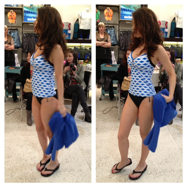 Swimco packing for paradise event fashion show, Blue checkered tankini from swimco
