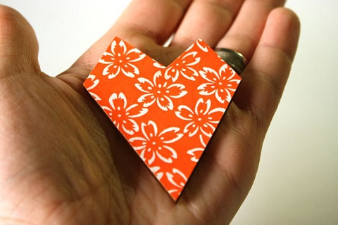 orange heart brooch