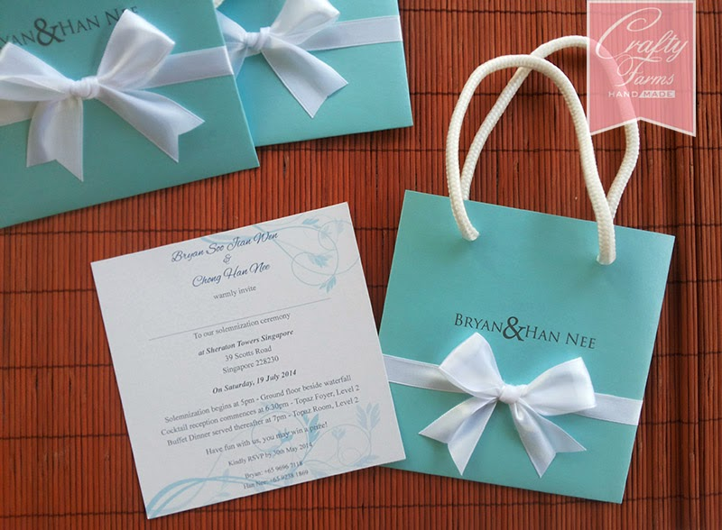 Tiffany Inspired Paper Bag Wedding Invitation Cards