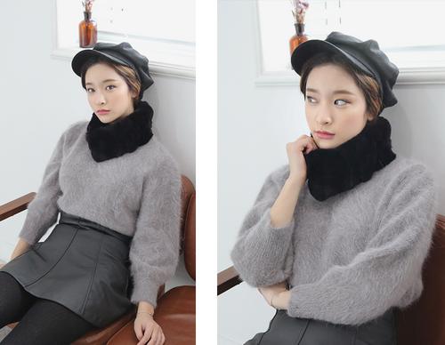 Angora Blend Fuzzy Sweater