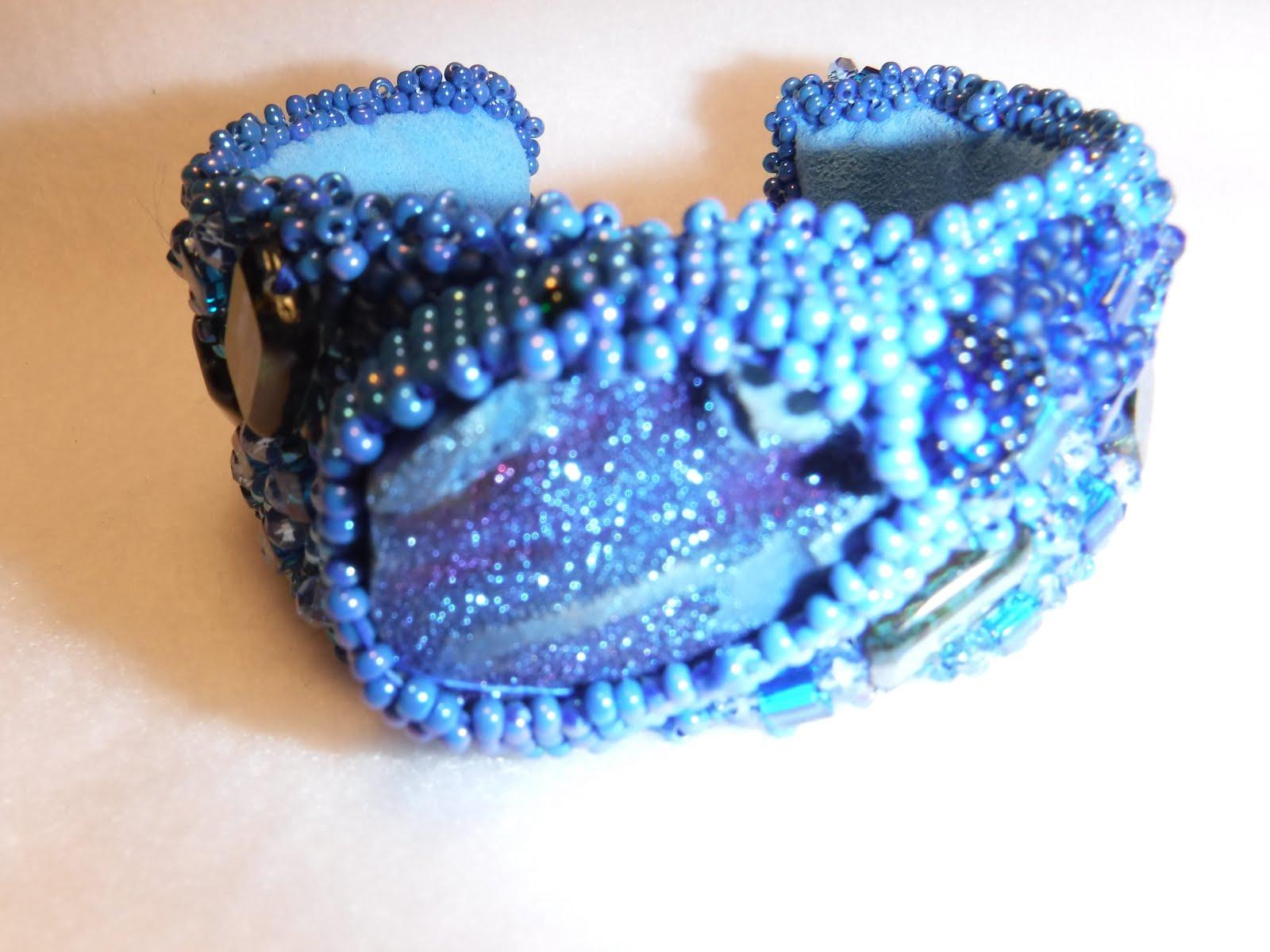 Blue Druzy Quartz crystal cuff