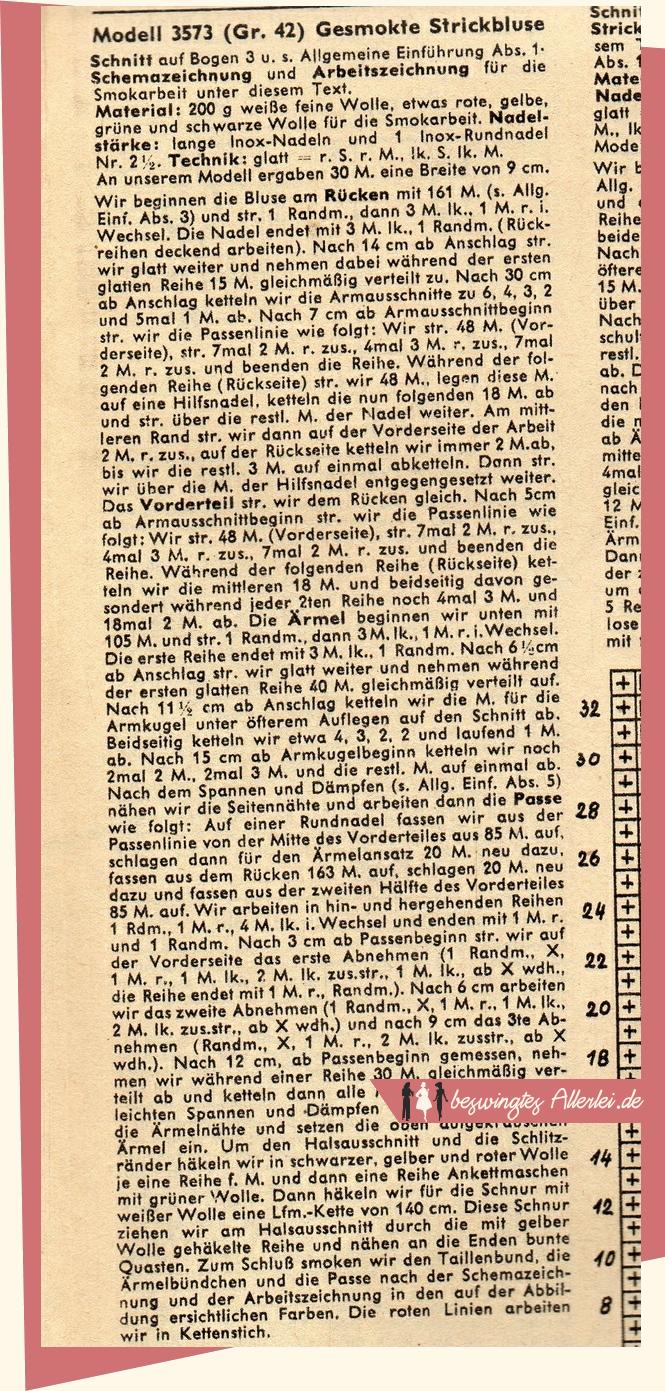 Modezeitschrift, Wiener Strickmode, gesmokt, gestrickte Bluse