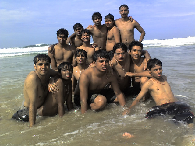 Groups of boys enjoying beach tour