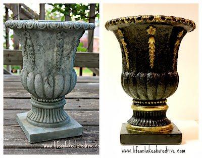 Planter Makeover with Rust-Oleum spray paint & Gold Gilding wax  Before & After Pic