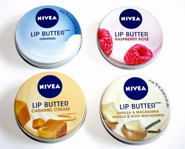 Lip Butters in Original, Raspberry Rose, Caramel Cream and Vanilla & Macadamia