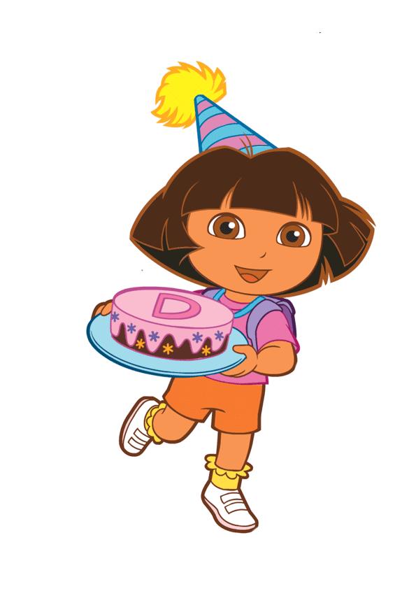 Dora con tarta de cumpleaños