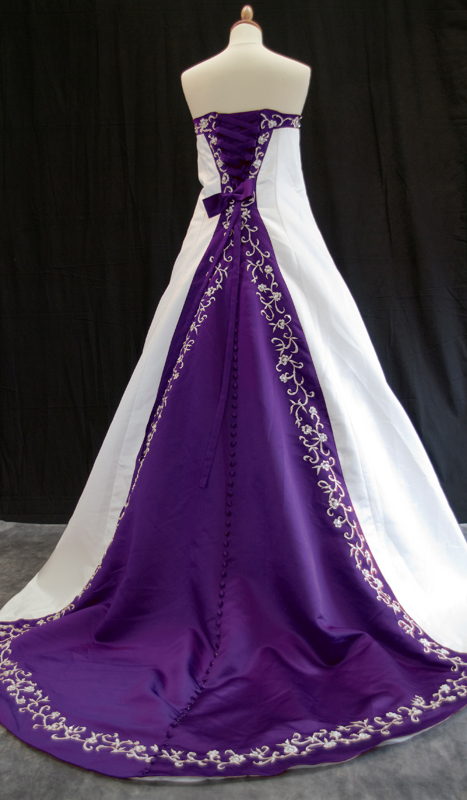 A wedding addict purple and white wedding dresses for Wedding dresses with purple trim