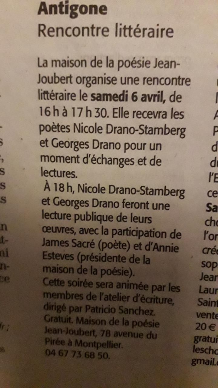 Midi Libre - Rencontre littéraire avec Nicole et Georges DRANO - le 6 avril 2019.-