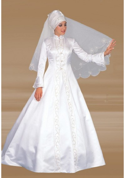 Wedding blog muslim wedding dresses this embroidery muslim islamic satin wedding dress features its high neckline and a line skirt it can be made in other colors junglespirit Image collections