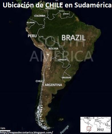Ubicación de CHILE en Sudamérica, BING