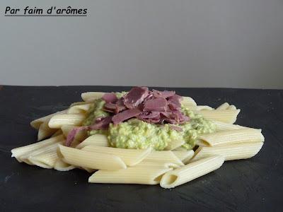 Penne aux gésiers et dip de salade