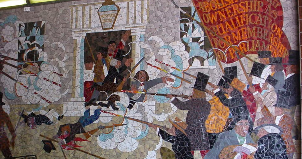 Yr aflonyddwch mawr wales the people 39 s art that the for Chartist mural newport