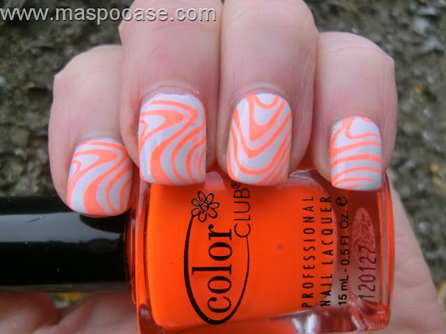 White-and-Orange-Nail-Art