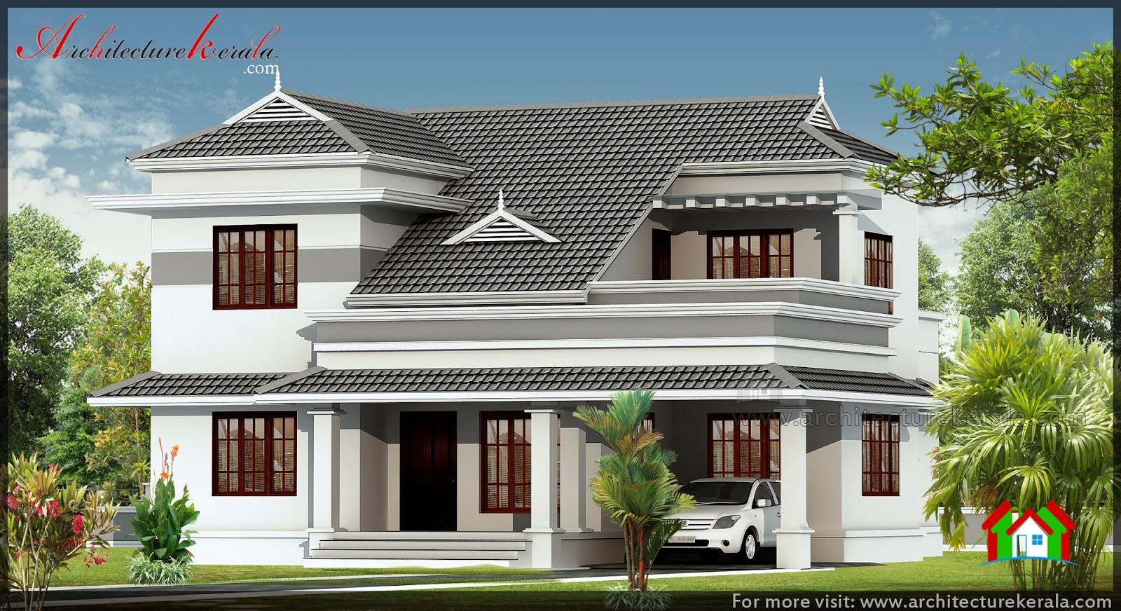 Slope roof style 3 bedroom house architecture kerala for 3 bedroom house in kerala