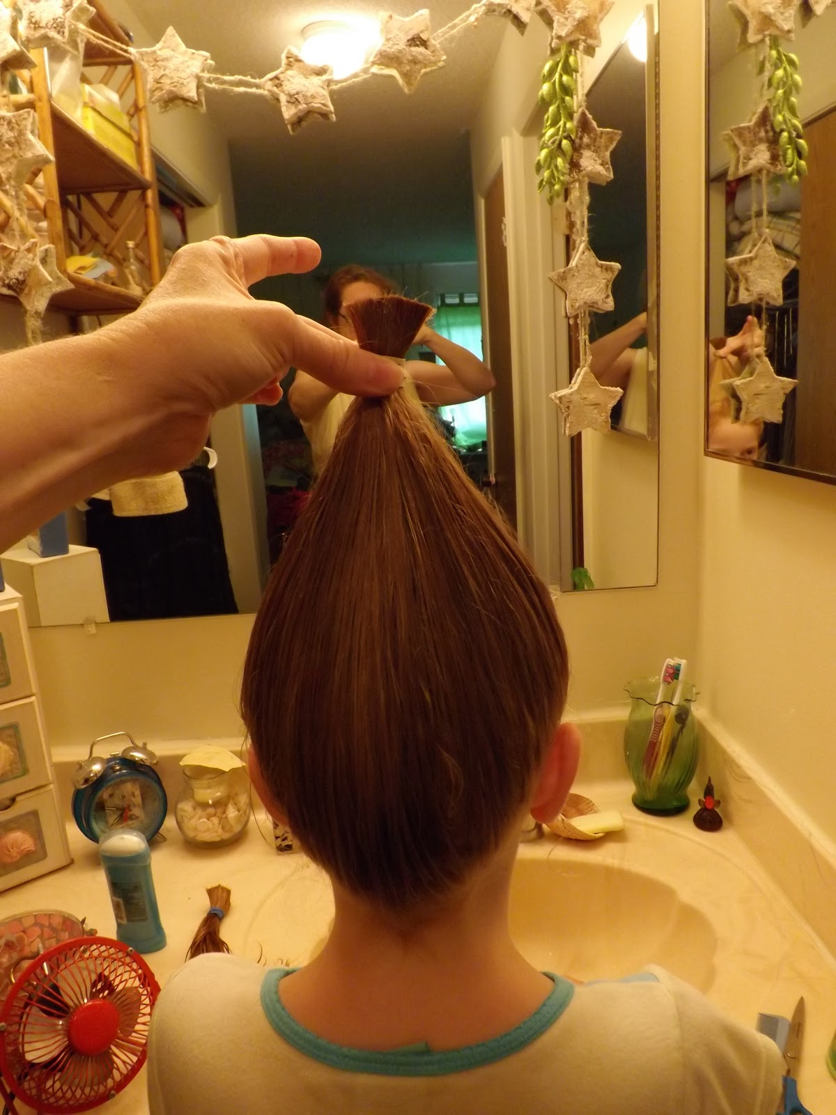 little further down & cut in between them. This is after the cut