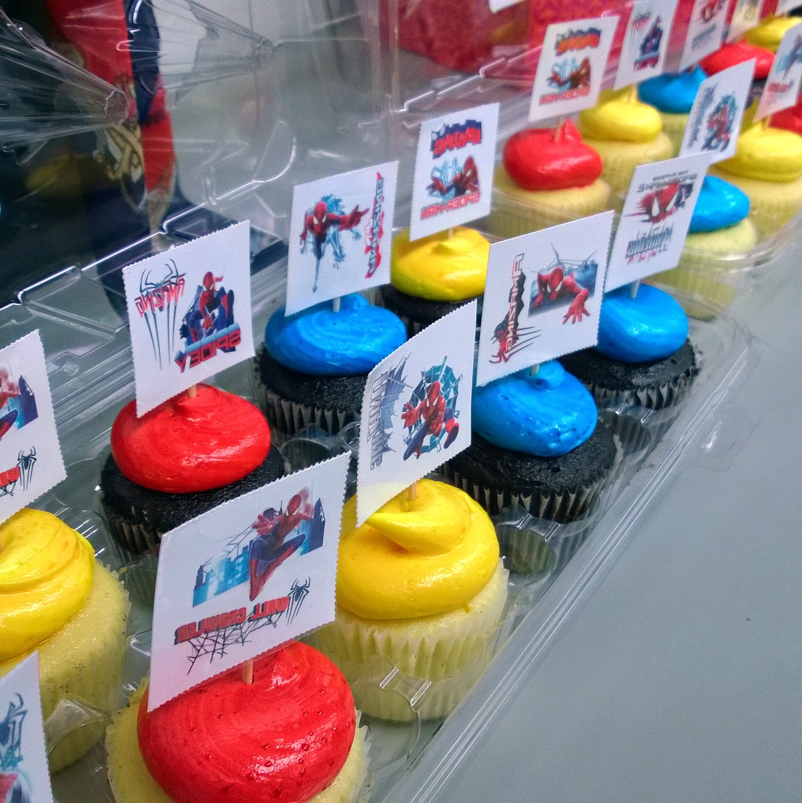Spider Man tattoo cupcake toppers