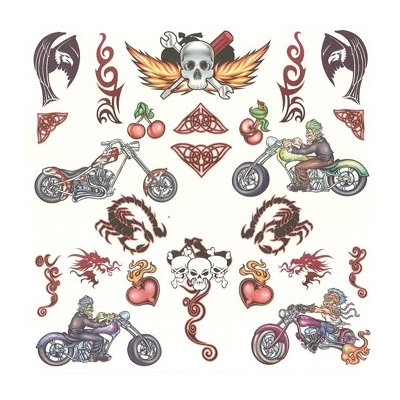 heritage tattoo road warrior motorcycle tattoos over 50 assorted temporary tattoos. Black Bedroom Furniture Sets. Home Design Ideas