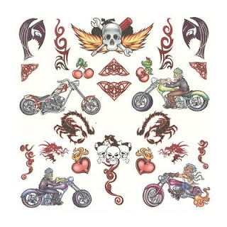 Road Warrior Motorcycle Tattoos Over 50 Assorted Temporary Tattoos