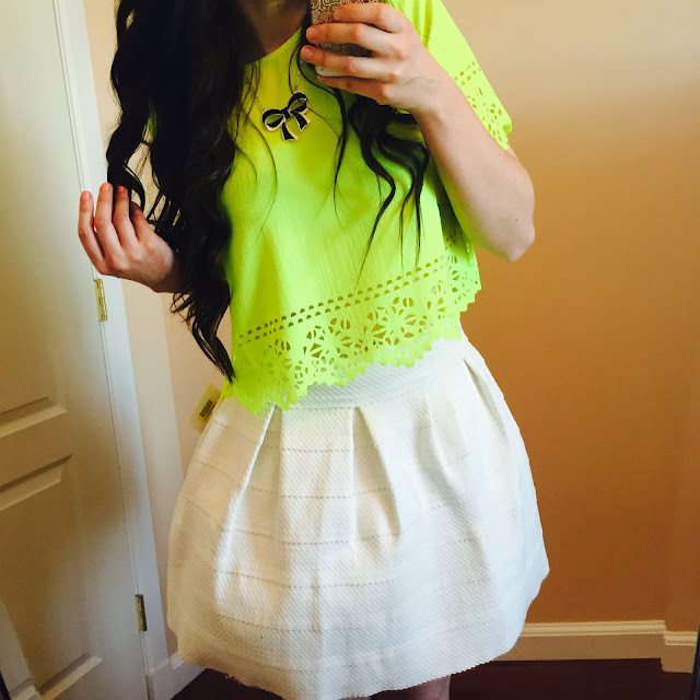 laser cut crop top, green laser cut crop top, crop top, neon green crop top, crop top, white bandaged skirt, white skirt, teen fashion, teen fashion outfits,