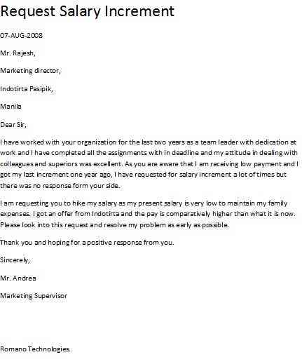 sample letter of salary negotiation