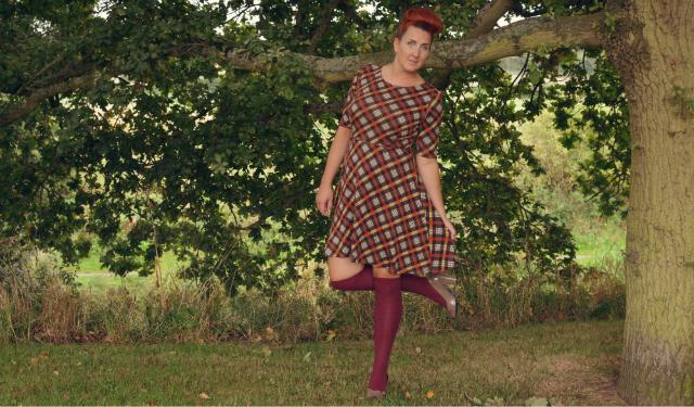 brown-check-dress