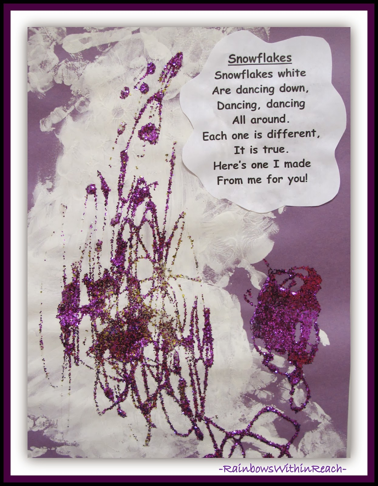Open Ended Winter Process Art with Snowflake Poem at RainbowsWithinReach