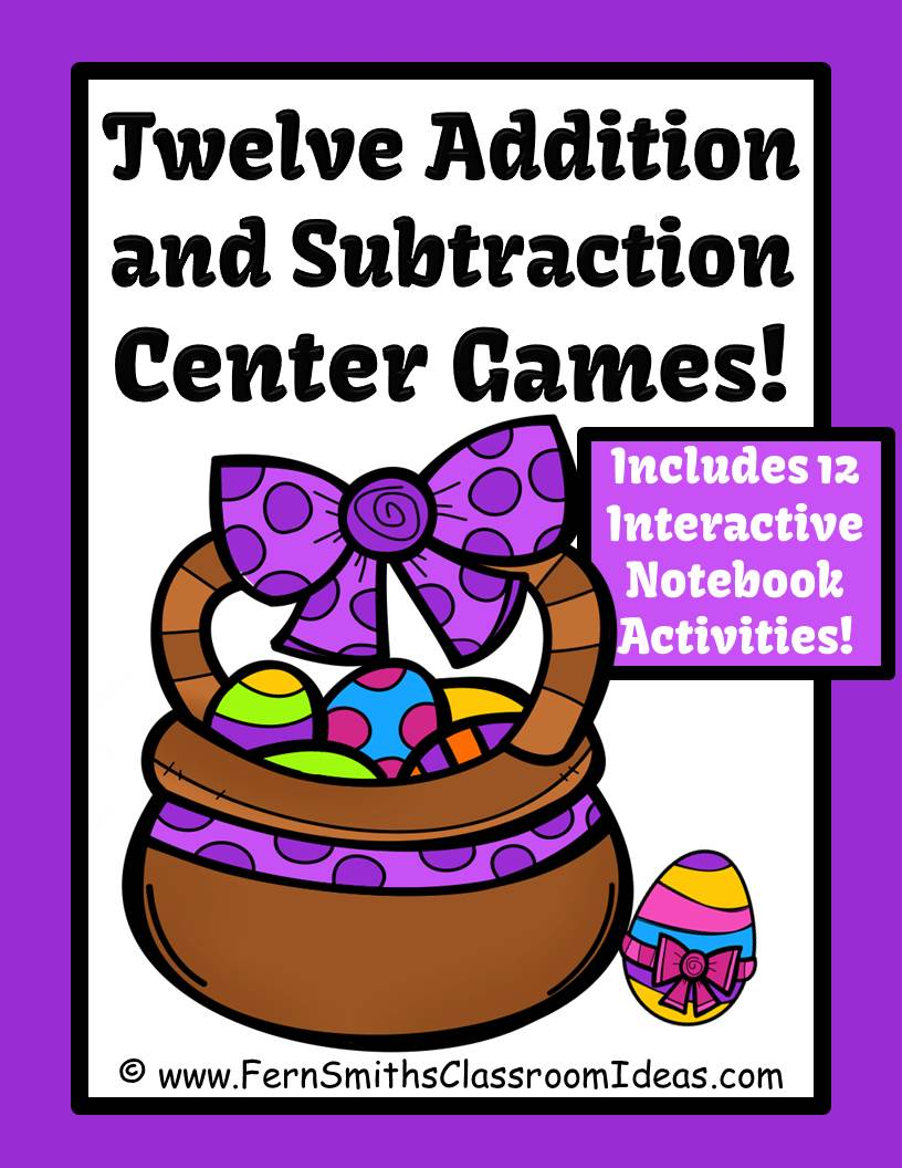 Easter Addition and Subtraction Centers, Printable Seatwork and Foldables