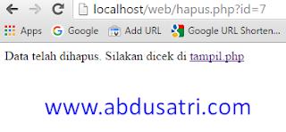 cara buat hapus data di PHP