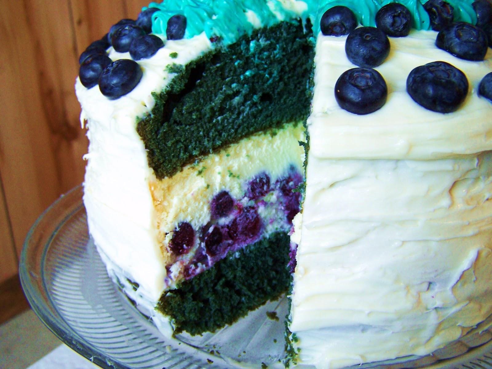 ... Love, and Veggies: Triple Layer Aqua Velvet Blueberry Lemon Cheesecake