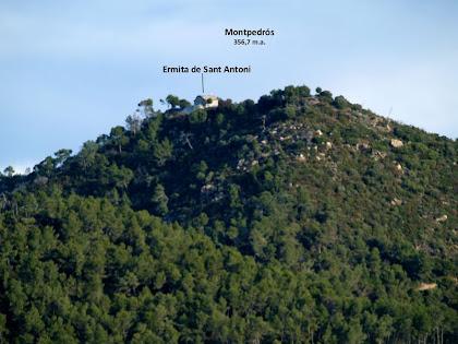 Zoom a l'ermita de Sant Antoni des del Camí de Can Cartró