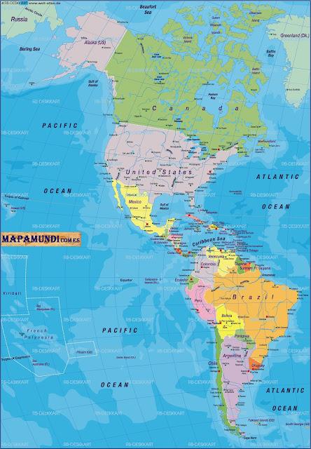 Mapamundi Mapa de America politico