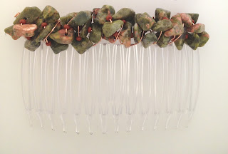 Unakite Nugget-Wrapped Hair Comb