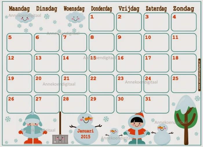 kalender voor kinderen, kalender om zelf te printen, januari 2015, 2015 kalender, schattige kalender, kalender met eskimos