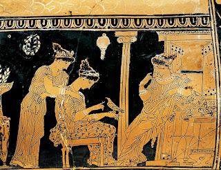 Detalle de la decoración de un vaso ático de figuras rojas obra del llamado Pintor de Eretria.