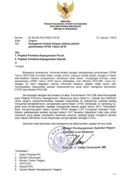 Surat Edaran Menteri PAN-RB Tentang Jadwal Penerimaan CPNS 2016