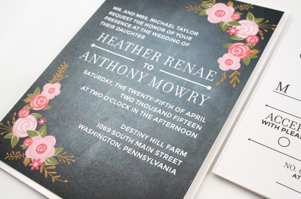 http://dgdinvitations.com/product/heather-chalkboard-floral-rustic-wedding-invitation/