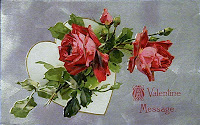 antique embossed valentine postcard post card with heart and roses