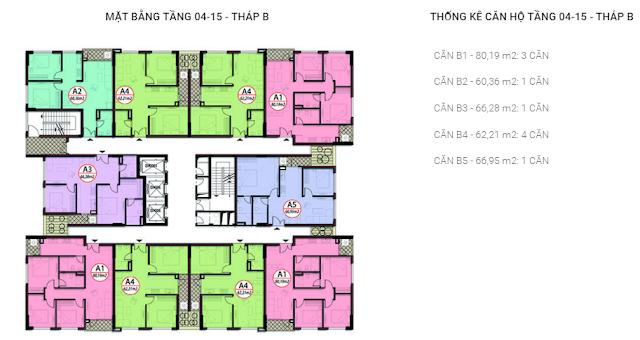 Mặt bằng căn hộ tầng 4-15 tòa B chung cư Valencia Garden