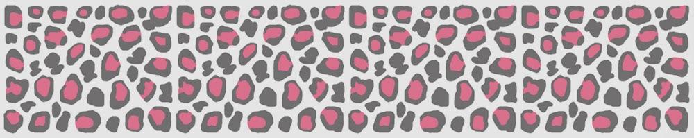 Decamp studios pink grey leopard wallpaper border wall decals