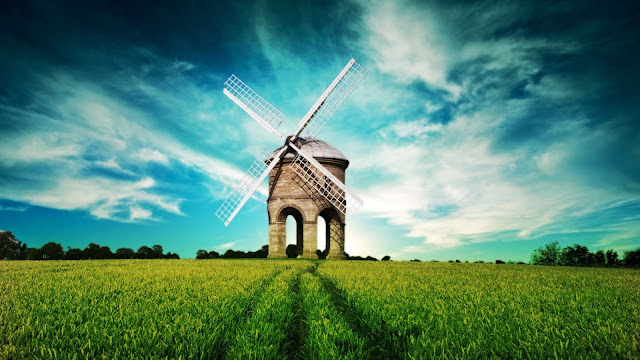 Fantasy Landscape Windmill Fields Blue Sky HD Wallpaper