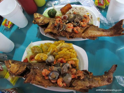Fish platter dinner at the fish market in Panama City, Panama